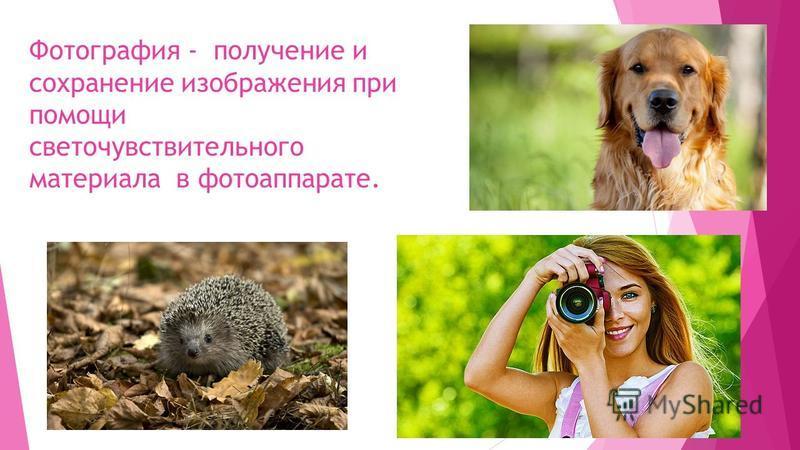 Фотография - получение и сохранение изображения при помощи светочувствительного материала в фотоаппарате.