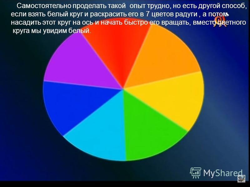 Самостоятельно проделать такой опыт трудно, но есть другой способ, если взять белый круг и раскрасить его в 7 цветов радуги, а потом насадить этот круг на ось и начать быстро его вращать, вместо цветного круга мы увидим белый.