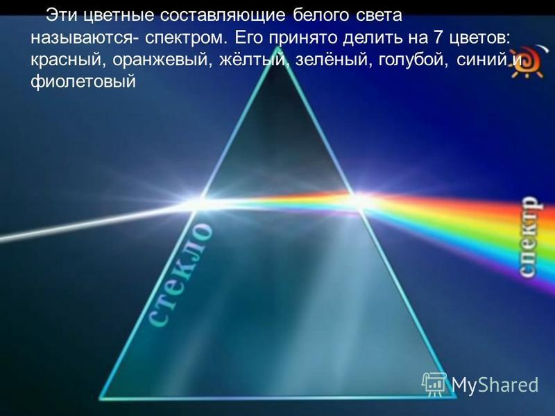 Эти цветные составляющие белого света называются- спектром. Его принято делить на 7 цветов: красный, оранжевый, жёлтый, зелёный, голубой, синий и фиолетовый