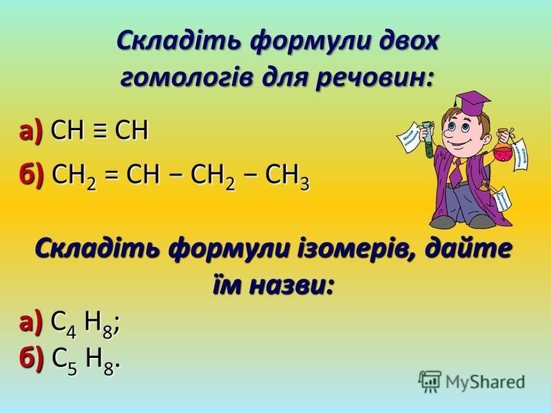 Складіть формули двох гомологів для речовин: а) CH CH б) CH 2 = CH CH 2 CH 3 Складіть формули ізомерів, дайте їм назви: а) C 4 H 8 ; б) C 5 H 8.