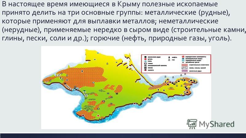В настоящее время имеющиеся в Крыму полезные ископаемые принято делить на три основные группы: металлические (рудные), которые применяют для выплавки металлов; неметаллические (нерудные), применяемые нередко в сыром виде (строительные камни, глины, п