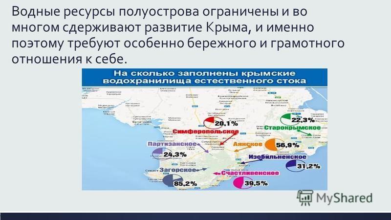 Водные ресурсы полуострова ограничены и во многом сдерживают развитие Крыма, и именно поэтому требуют особенно бережного и грамотного отношения к себе.