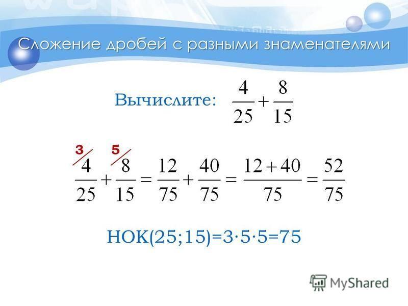 Сложение дробей с разными знаменателями 35 Вычислите: НОК(25;15)=355=75