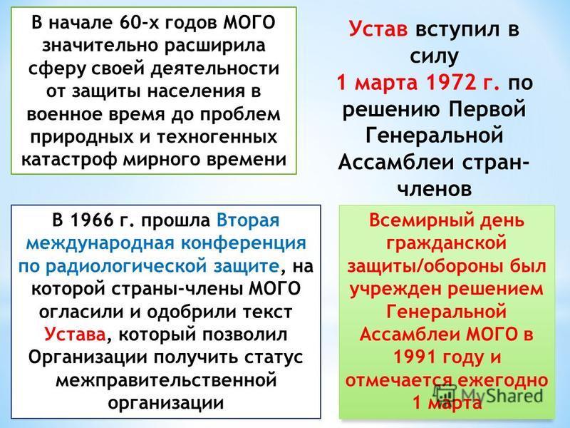 В начале 60-х годов МОГО значительно расширила сферу своей деятельности от защиты населения в военное время до проблем природных и техногенных катастроф мирного времени В 1966 г. прошла Вторая международная конференция по радиологической защите, на к