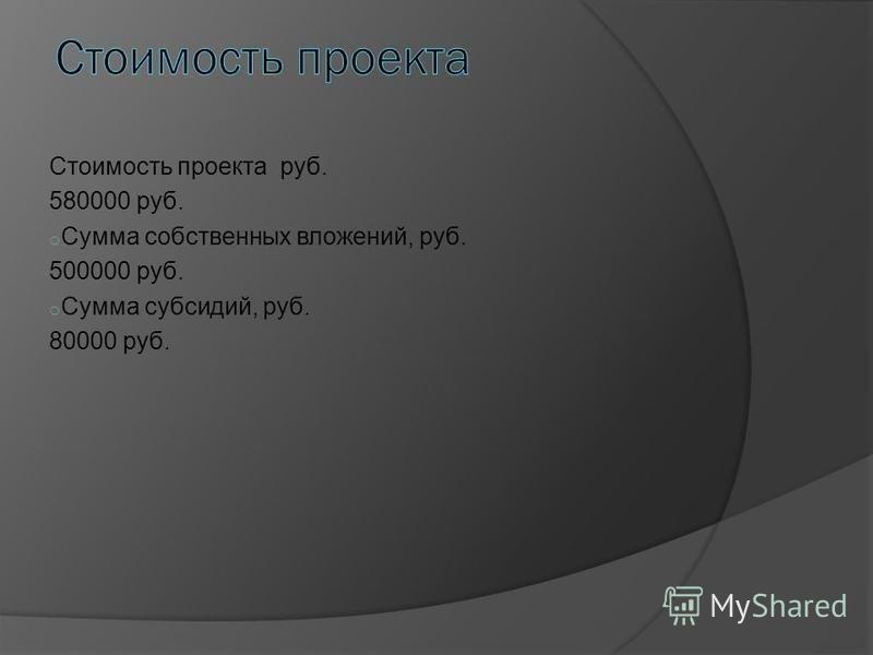 Стоимость проекта руб. 580000 руб. o Сумма собственных вложений, руб. 500000 руб. o Сумма субсидий, руб. 80000 руб.