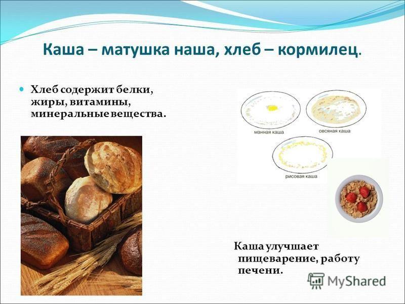 Каша – матушка наша, хлеб – кормилец. Хлеб содержит белки, жиры, витамины, минеральные вещества. Каша улучшает пищеварение, работу печени.