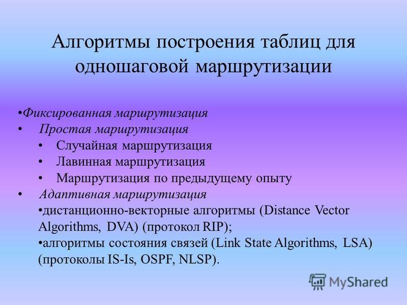 Алгоритмы построения таблиц для одношаговой маршрутизации Фиксированная маршрутизация Простая маршрутизация Случайная маршрутизация Лавинная маршрутизация Маршрутизация по предыдущему опыту Адаптивная маршрутизация дистанционно-векторные алгоритмы (D