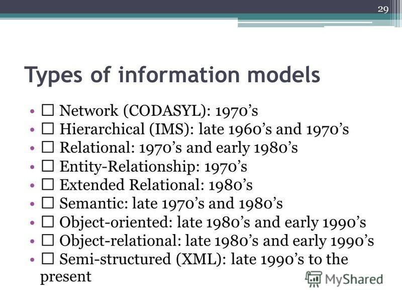 Types of information models Network (CODASYL): 1970s Hierarchical (IMS): late 1960s and 1970s Relational: 1970s and early 1980s Entity-Relationship: 1970s Extended Relational: 1980s Semantic: late 1970s and 1980s Object-oriented: late 1980s and early