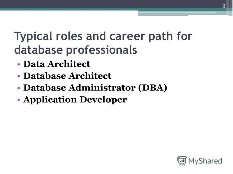Typical roles and career path for database professionals Data Architect Database Architect Database Administrator (DBA) Application Developer 3