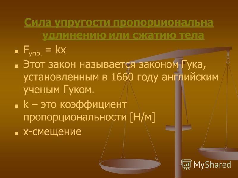 Сила упругости пропорциональна удлинению или сжатию тела F упр. = kx Этот закон называется законом Гука, установленным в 1660 году английским ученым Гуком. k – это коэффициент пропорциональности [Н/м] x-смещение