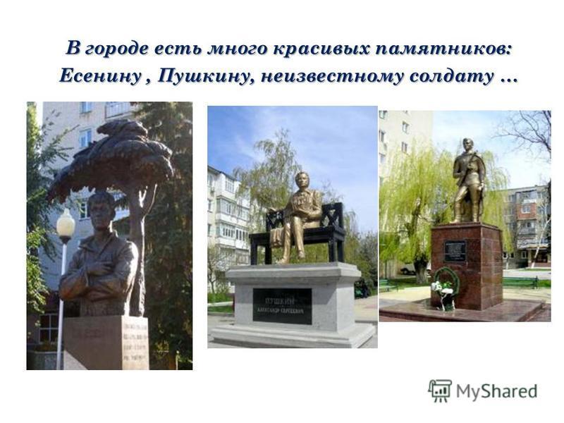 В городе есть много красивых памятников: Есенину, Пушкину, неизвестному солдату …