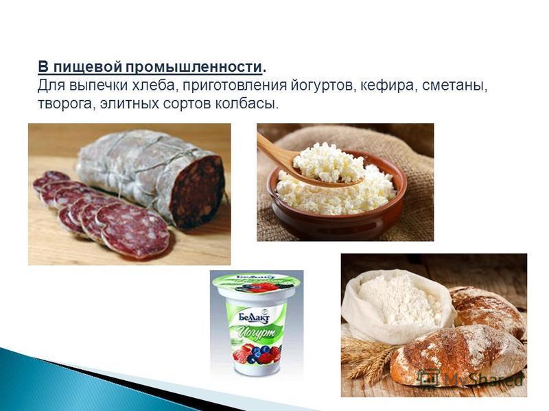 В пищевой промышленности. Для выпечки хлеба, приготовления йогуртов, кефира, сметаны, творога, элитных сортов колбасы.