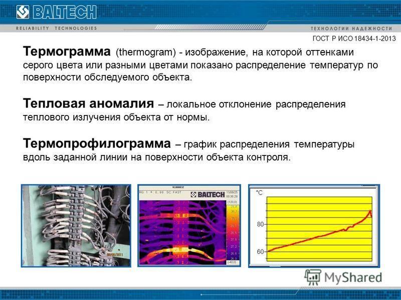 Термограмма (thermogram) - изображение, на которой оттенками серого цвета или разными цветами показано распределение температур по поверхности обследуемого объекта. Тепловая аномалия – локальное отклонение распределения теплового излучения объекта от