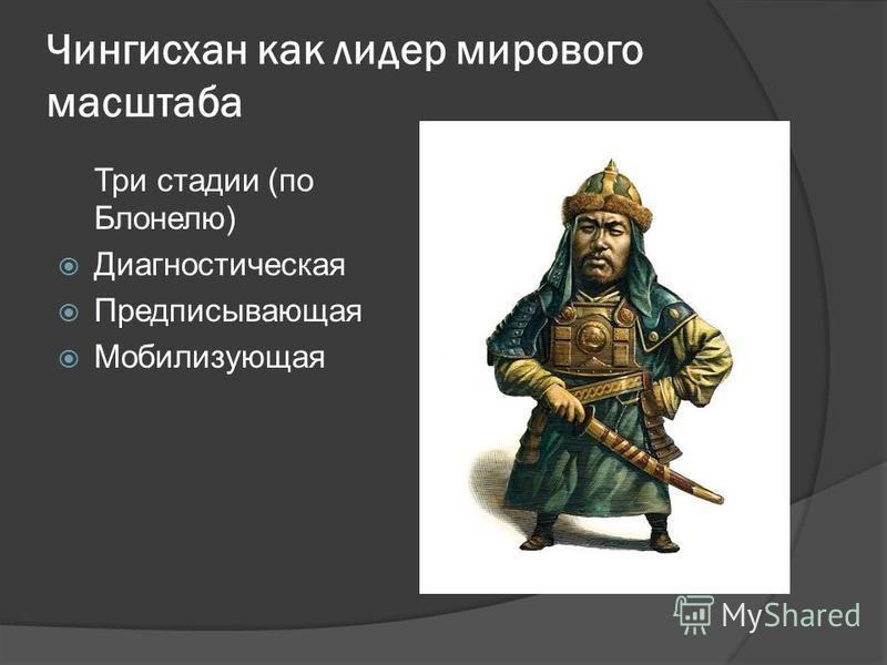 Чингисхан как лидер мирового масштаба Три стадии (по Блонелю) Диагностическая Предписывающая Мобилизующая