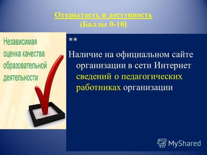 Открытость и доступность (Баллы 0-10 ) ** Наличие на официальном сайте организации в сети Интернет сведений о педагогических работниках организации