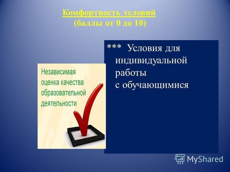 Комфортность условий (баллы от 0 до 10) *** Условия для индивидуальной работы с обучающимися
