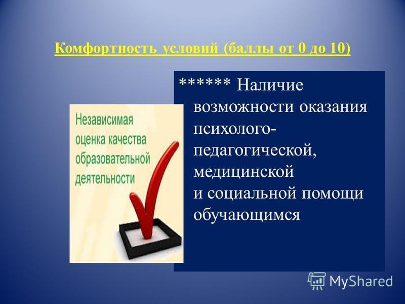 Комфортность условий (баллы от 0 до 10) ****** Наличие возможности оказания психолого- педагогической, медицинской и социальной помощи обучающимся