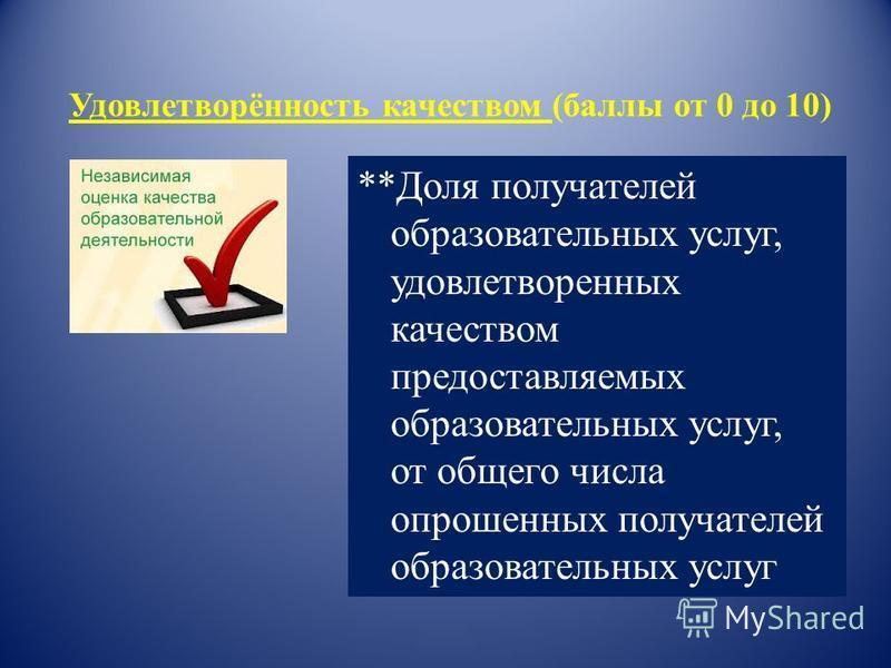 Удовлетворённость качеством (баллы от 0 до 10) **Доля получателей образовательных услуг, удовлетворенных качеством предоставляемых образовательных услуг, от общего числа опрошенных получателей образовательных услуг