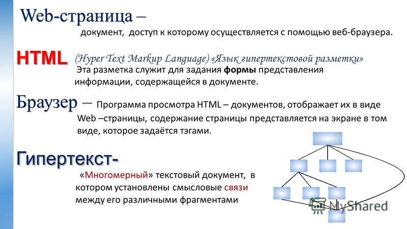 HTML (Hyper Text Markup Language) «Язык гипертекстовой разметки» «Многомерный» текстовый документ, в котором установлены смысловые связи между его различными фрагментами - Гипертекст- Web-страница –. документ, доступ к которому осуществляется с помощ