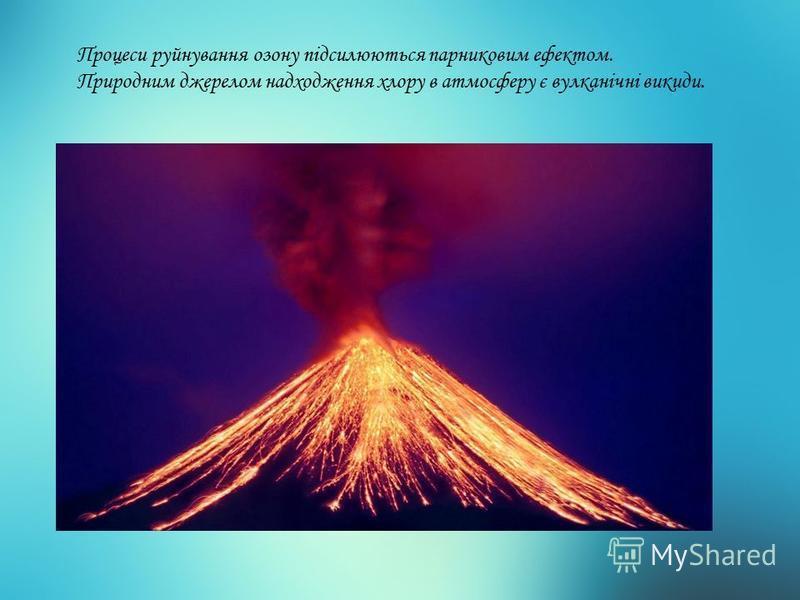Процеси руйнування озону підсилюються парниковим ефектом. Природним джерелом надходження хлору в атмосферу є вулканічні викиди.