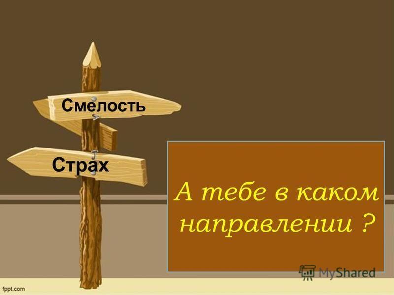 А тебе в каком направлении ? Смелость Страх