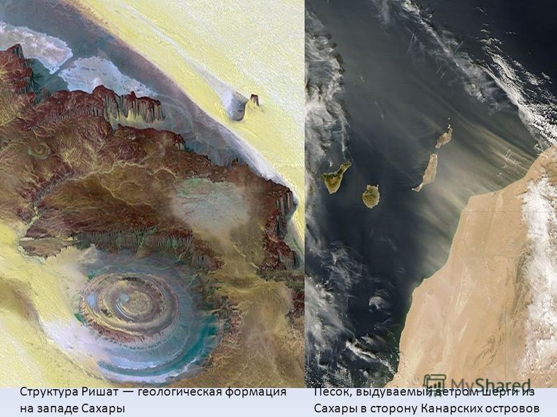 Структура Ришат геологическая формация на западе Сахары Песок, выдуваемый ветром шергин из Сахары в сторону Канарских островов