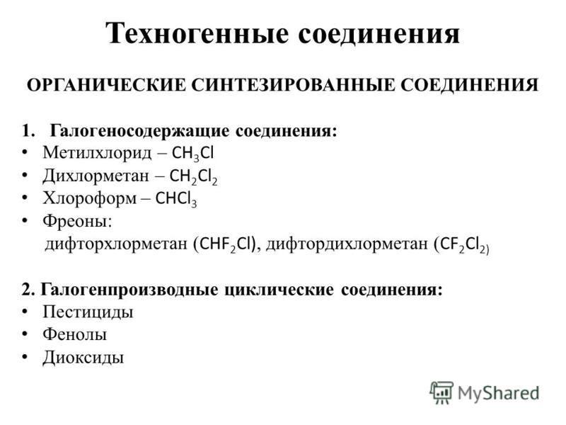 Техногенные соединения ОРГАНИЧЕСКИЕ СИНТЕЗИРОВАННЫЕ СОЕДИНЕНИЯ 1. Галогеносодержащие соединения: Метилхлорид – CH 3 Cl Дихлорметан – CH 2 Cl 2 Хлороформ – CHCl 3 Фреоны: дифторхлорметан ( CHF 2 Cl), дифтордихлорметан ( CF 2 Cl 2) 2. Галогенпроизводны