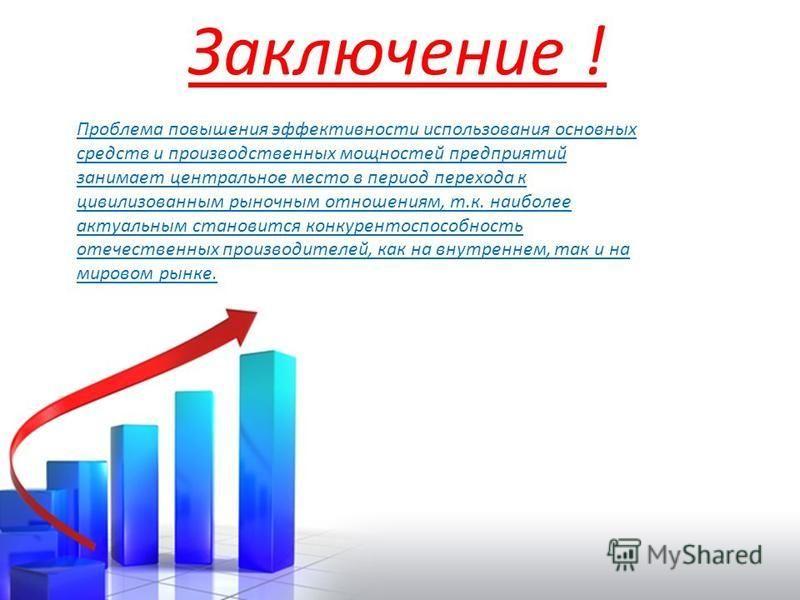 Заключение ! Проблема повышения эффективности использования основных средств и производственных мощностей предприятий занимает центральное место в период перехода к цивилизованным рыночным отношениям, т.к. наиболее актуальным становится конкурентоспо