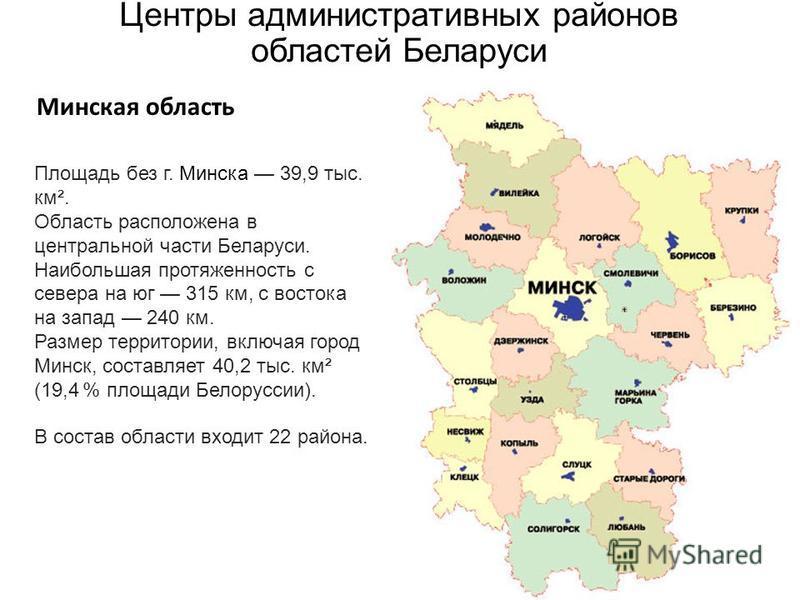 Центры административных районов областей Беларуси Минская область Площадь без г. Минска 39,9 тыс. км². Область расположена в центральной части Беларуси. Наибольшая протяженность с севера на юг 315 км, с востока на запад 240 км. Размер территории, вкл