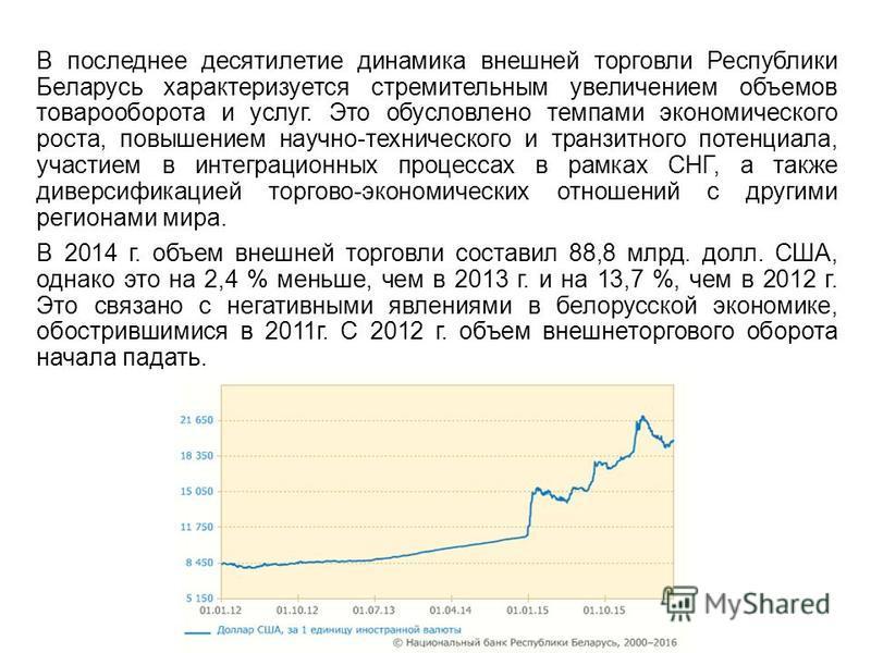 В последнее десятилетие динамика внешней торговли Республики Беларусь характеризуется стремительным увеличением объемов товарооборота и услуг. Это обусловлено темпами экономического роста, повышением научно-технического и транзитного потенциала, учас