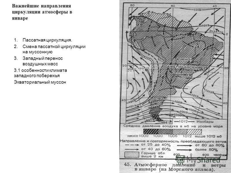 Важнейшие направления циркуляции атмосферы в январе 1. Пассатная циркуляция. 2. Смена пассатной циркуляции на муссонную 3. Западный перенос воздушных масс 3.1 особенности климата западного побережья Экваториальный муссон