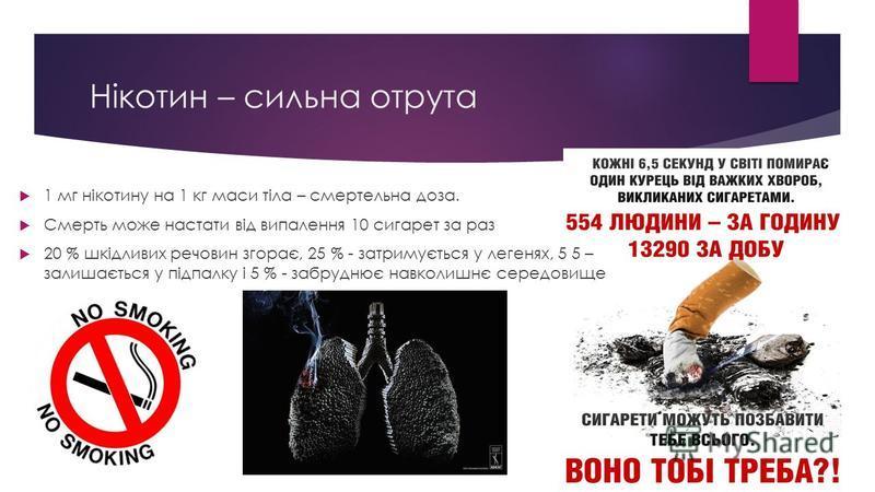 Нікотин – сильна отрута 1 мг нікотину на 1 кг маси тіла – смертельна доза. Смерть може настати від випалення 10 сигарет за раз 20 % шкідливих речовин згорає, 25 % - затримується у легенях, 5 5 – залишається у підпалку і 5 % - забруднює навколишнє сер