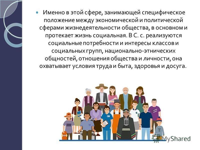 Именно в этой сфере, занимающей специфическое положение между экономической и политической сферами жизнедеятельности общества, в основном и протекает жизнь социальная. В С. с. реализуются социальные потребности и интересы классов и социальных групп,
