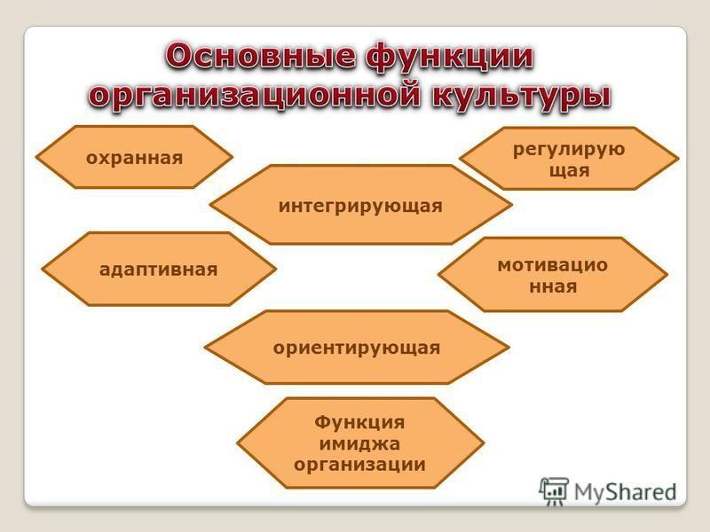 охранная интегрирующая регулирующая мотивационная адаптивная ориентирующая Функция имиджа организации