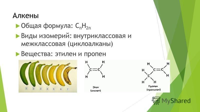 Алкены Общая формула: C n H 2n Виды изомерий: внутриклассовая и межклассовая (циклоалканы) Вещества: этилен и пропен