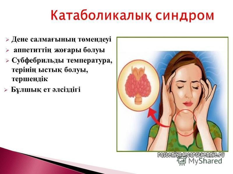 Дене салмағының төмендеуі аппетиттің жоғары болуы Субфебрильды температура, терінің ыстық болуы, тершендік Бұлшық ет әлсіздігі