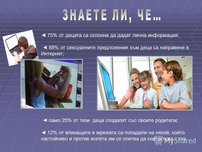 75% от децата са склонни да дадат лична информация; 89% от сексуалните предложения към деца са направени в Интернет; само 25% от тези деца споделят със своите родители; 12% от влизащите в мрежата са попадали на някой, който настойчиво и против волята