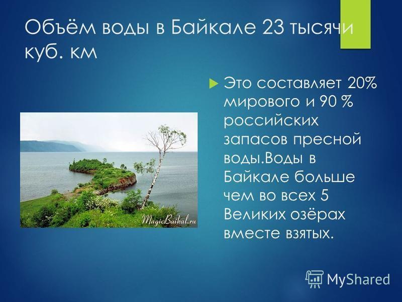 Объём воды в Байкале 23 тысячи куб. км Это составляет 20% мирового и 90 % российских запасов пресной воды.Воды в Байкале больше чем во всех 5 Великих озёрах вместе взятых.