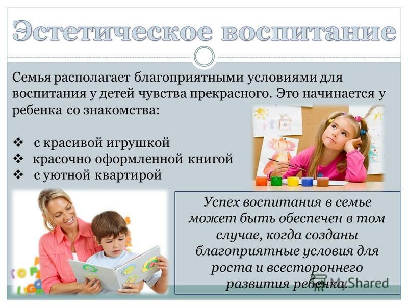 Семья располагает благоприятными условиями для воспитания у детей чувства прекрасного. Это начинается у ребенка со знакомства: с красивой игрушкой красочно оформленной книгой с уютной квартирой Успех воспитания в семье может быть обеспечен в том случ