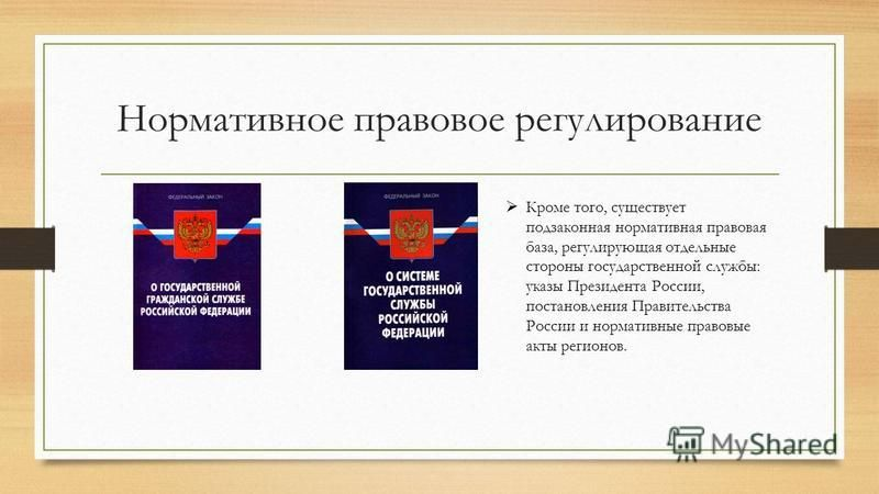 Нормативное правовое регулирование Кроме того, существует подзаконная нормативная правовая база, регулирующая отдельные стороны государственной службы: указы Президента России, постановления Правительства России и нормативные правовые акты регионов.