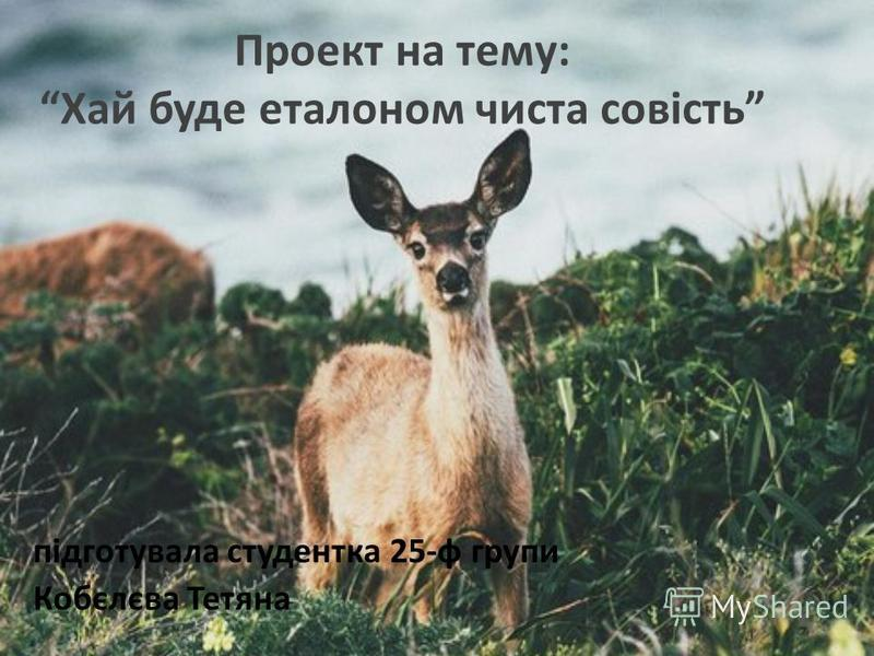 Проект на тему:Хай буде еталоном чиста совість підготувала студентка 25-ф групи Кобєлєва Тетяна