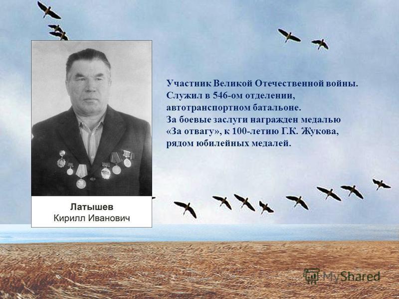 Участник Великой Отечественной войны. Служил в 546-ом отделении, автотранспортном батальоне. За боевые заслуги награжден медалью «За отвагу», к 100-летию Г.К. Жукова, рядом юбилейных медалей.