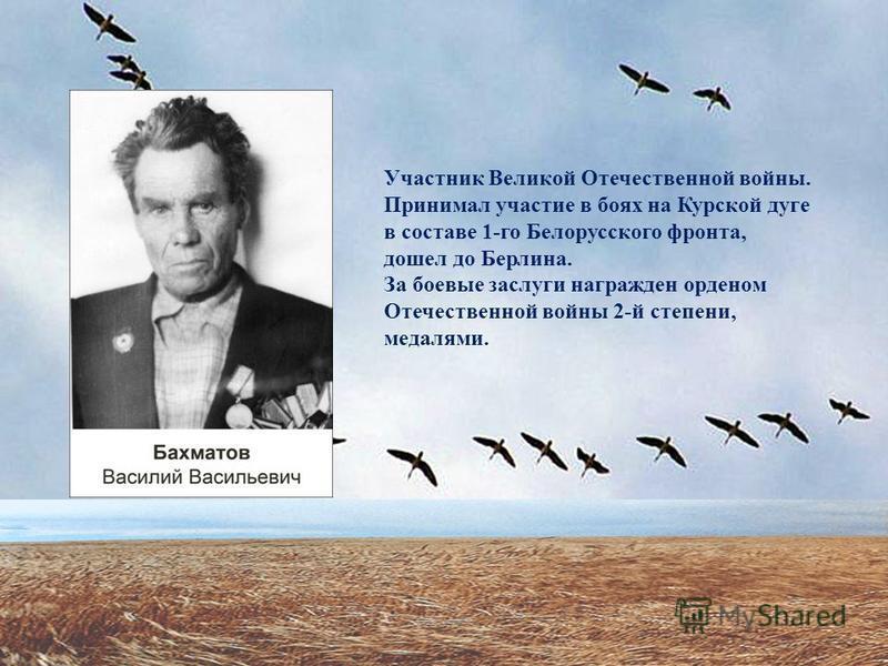 Участник Великой Отечественной войны. Принимал участие в боях на Курской дуге в составе 1-го Белорусского фронта, дошел до Берлина. За боевые заслуги награжден орденом Отечественной войны 2-й степени, медалями.