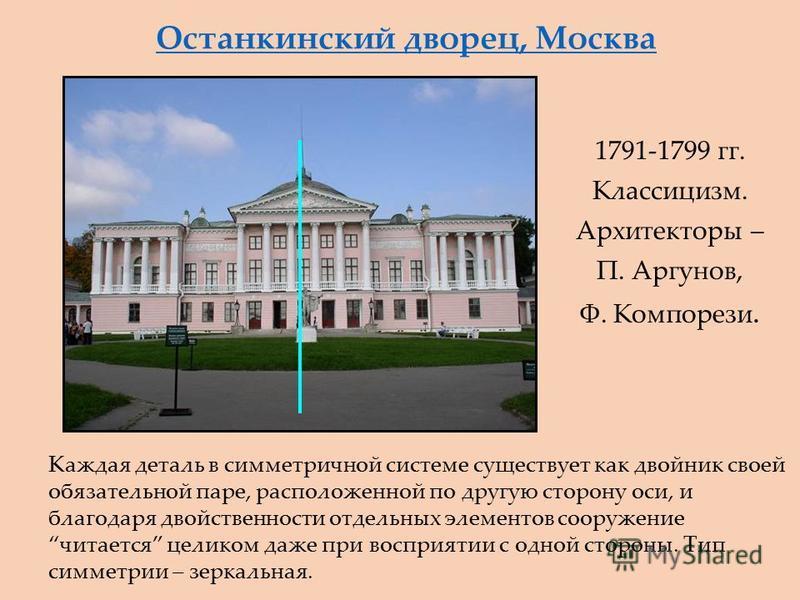 Останкинский дворец, Москва 1791-1799 гг. Классицизм. Архитекторы – П. Аргунов, Ф. Компорези. Каждая деталь в симметричной системе существует как двойник своей обязательной паре, расположенной по другую сторону оси, и благодаря двойственности отдельн