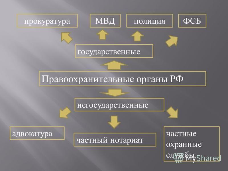 Правоохранительные органы РФ прокуратураМВДФСБ государственные негосударственные адвокатура частный нотариат частные охранные службы полиция