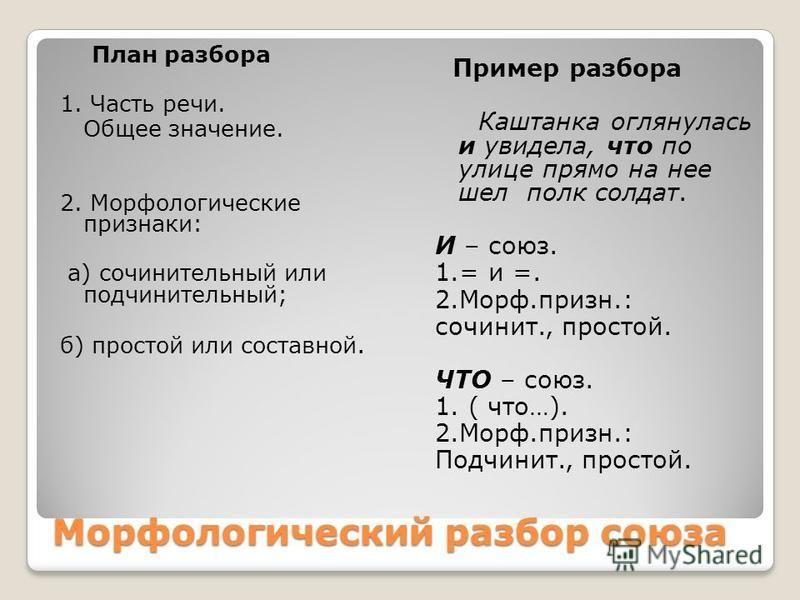 Схема морфологического разбора союза и