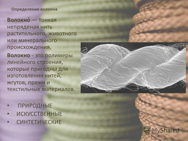 Определение волокна Волокно́ тонкая непряденая нить растительного, животного или минерального происхождения. Волокно - это полимеры линейного строения, которые пригодны для изготовления нитей, жгутов, пряжи и текстильных материалов. ПРИРОДНЫЕ ИСКУССТ