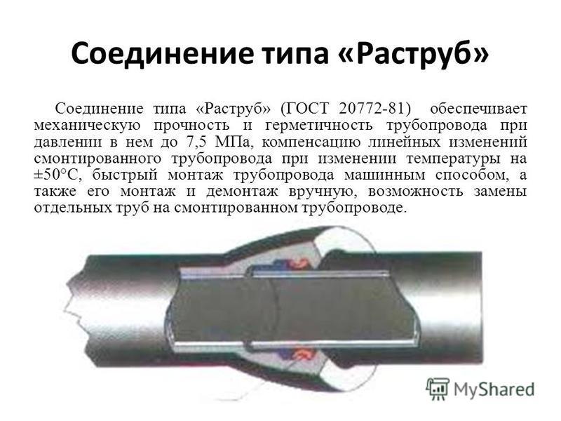 Соединение типа «Раструб» Соединение типа «Раструб» (ГОСТ 20772-81) обеспечивает механическую прочность и герметичность трубопровода при давлении в нем до 7,5 МПа, компенсацию линейных изменений смонтированного трубопровода при изменении температуры