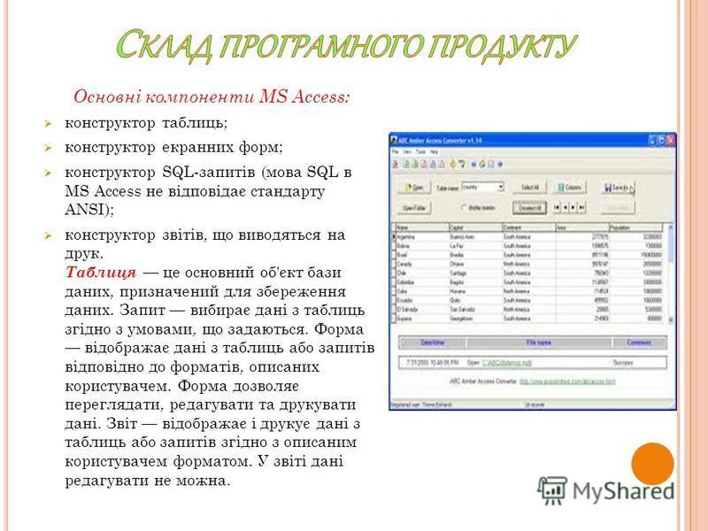 Основні компоненти MS Access: конструктор таблиць; конструктор екранних форм; конструктор SQL-запитів (мова SQL в MS Access не відповідає стандарту ANSI); конструктор звітів, що виводяться на друк. Таблиця це основний об'єкт бази даних, призначений д