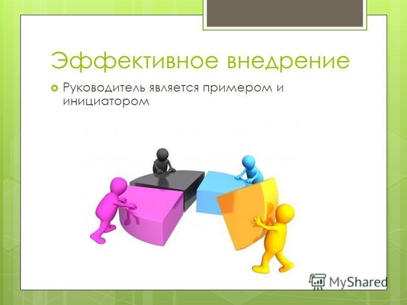 Эффективное внедрение Руководитель является примером и инициатором